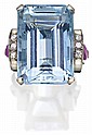 AQUAMARINE, DIAMOND AND RUBY RING, 1940s COMPOSITE