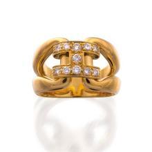 18ct gold and diamond 'H' ring, Hermès