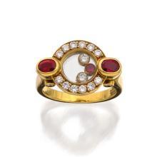 18ct gold, ruby and diamond 'Happy Diamonds' ring, Chopard