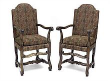 A pair of North Italian walnut chairs, late 17th/ early 18th century (2)
