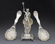 A 19th century Portuguese silver toothpick holder, Porto 1843-1853 and a pair of Portuguese silver spoons, Porto 1877-1881 (3)