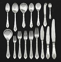 A Danish silver flatware service designed by Georg Jensen in 1906, mark of Georg Jensen, 1910-1925 and 1915-1927, Denmark (193)