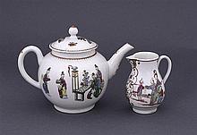 A Worcester tea pot, together with a Worcester sparrow beak jug, circa 1770 (2)