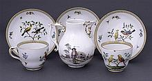 A Meissen cream jug, circa 1750 together with two Meissen cups and three saucers, 19th century (6)