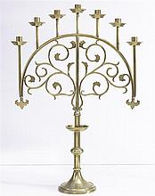 A seven-branch brass Candelabrum, late 19th/ early 20th century
