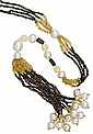 SOUTH SEA PEARL, CITRINE AND SMOKY QUARTZ LONGCHAIN, PASPALEY Accompanied by a Paspaley pouch.