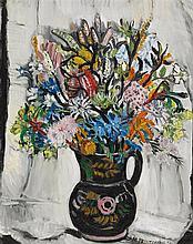 MARGARET PRESTON 1875-1963 Black Jug with Kangaroo Paws 1956 oil on canvas