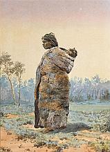 BEATRIX COLQUHOUN 1862-1959 (Aboriginal Mother and Child in Landscape) (circa 1880s) pencil, watercolour and gouache on paper