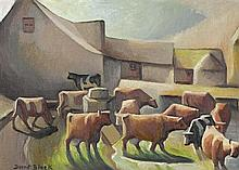 DORRIT BLACK 1891-1951 A Dorset Farmyard (1944) oil on canvas board