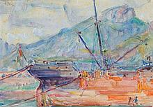 JOHN RUSSELL 1858-1930 Harbour Scene, Portofino 1921 watercolour over pencil on paper