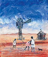 ARTHUR BOYD 1920-1999 Aboriginal Children and Windmill (1960) tempera on composition board