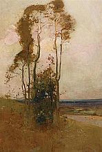 SYDNEY LONG 1871-1955 Landscape oil on compressed board