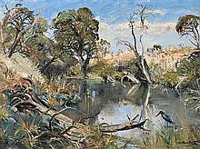 ARTHUR BOYD 1920-1999 Pond near Flinders, Boneo Road (1957) oil on canvas on composition board