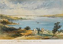 F.C. TERRY 1827-1869 Sydney Harbour from Watson's Bay 1854 watercolour on paper