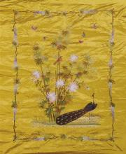 A finely embroidered silk panel, 20th century