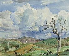 HANS HEYSEN 1877-1968 Storm Clouds over Pewsey Vale watercolour over pencil on paper