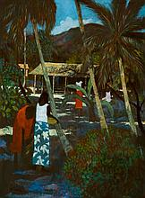 RAY CROOKE born 1922 Islanders and Patterned Light (1972) oil on canvas on composition board