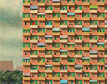 § JEFFREY SMART 1921-2013 Study for Housing Project No. 84 (1970) oil on composition board
