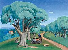 RAH FIZELLE 1891-1964 Olive Gatherers (1930) oil on canvas on board