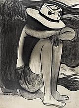 CHARLES BLACKMAN born 1928 Sunbather (1967) charcoal on paper on board
