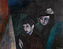 ROBERT DICKERSON born 1924 Children in Darlinghurst (1962) oil on composition board