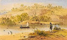 S.T. GILL 1819-1880 Waiting for the Sail Ferry, River Yarra watercolour and ink on paper