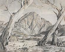 HANS HEYSEN 1877-1968 The Sentinel, Brachina Gorge, Flinders Ranges pencil, charcoal and wash on paper