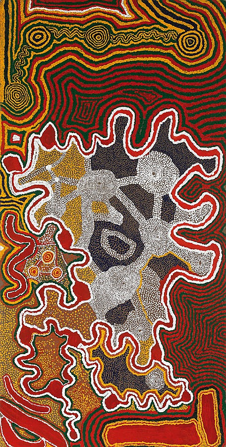 Donkeyman Lee Tjupurrula circa 1925-1993 WILKINKARRA (LAKE MACKAY) (1991) synthetic polymer paint on linen