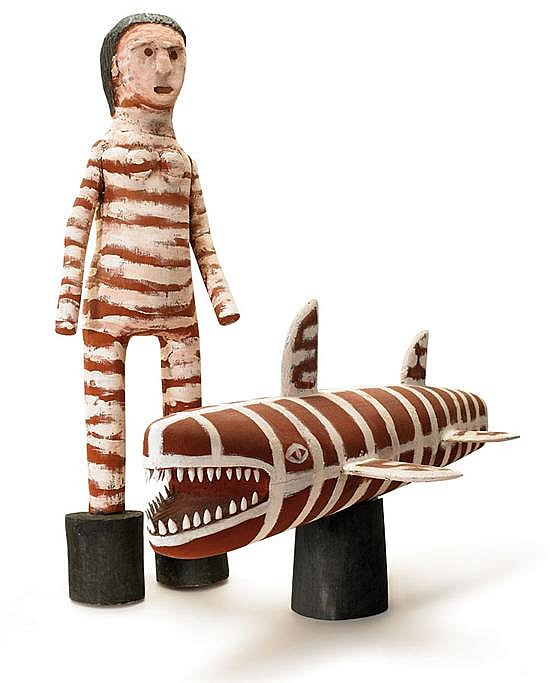 Gary Namponan born 1960 CRIPPLE GIRL AND SHARK (2006) carved wood, natural earth pigments and synthetic binders