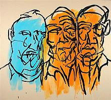 ADAM CULLEN 1965 - 2012 Three Australian Heads 1999 synthetic polymer paint on canvas