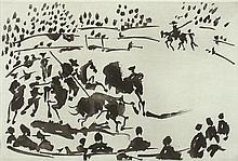 PABLO PICASSO 1881-1973 El Picador Obligando al Toro con su Pica (B.1962) (1957) aquatint on paper
