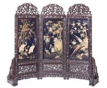 An embroidered silk three-panel hardwood screen
