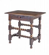 A late 17th century English oak side table, circa 1680