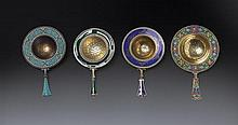 Four Norwegian silver-gilt wash and enamel tea strainers, David Andersen, marks for 1888-1925 (4)