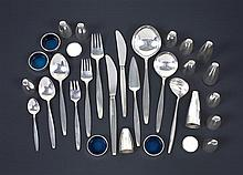 A canteen of Georg Jensen silver 'Cypress' pattern flatware, designed by Tias Eckhoff in 1954, together with cruets (127)