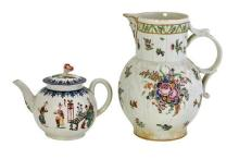 A First period Worcester Cabbage leaf mask jug, circa 1765, together with a first period Worcester tea pot, circa 1770 (3)