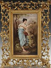 HAND PAINTED KPM PORCELAIN PLAQUE IN VENETIAN FRAME