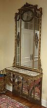 MONUMENTAL 19TH C. FRENCH OR ITALIAN MIRROR W/ CONSOLE