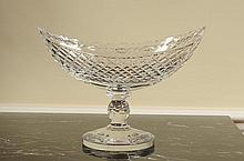 LARGE WATERFORD CRYSTAL BOAT SHAPE COMPOTE