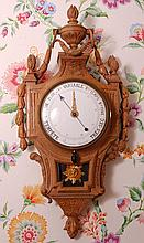 19C. FRENCH CARVED OAK CLOCK & BAROMETER, PERRIN PARIS