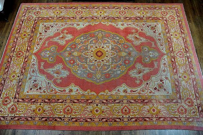 ANTIQUE TURKISH ROOM SIZED CARPET WITH CENTRAL MEDALLION