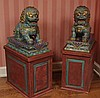 PAIR MONUMENTAL CHINESE CLOISONNE FOO DOG STATUES
