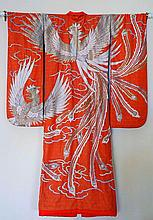 JAPANESE SILK EMBROIDERED WEDDING KIMONO