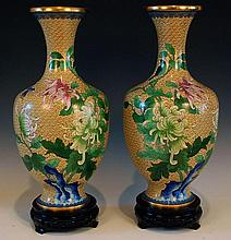 PAIR 20TH CENTURY CLOISONNE VASES