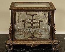 19TH CENTURY FRENCH GILT BRONZE TANTALUS LIQUOR CASKET