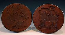 TWO 19TH CENTRUY CARVED WOOD CHEESE MOLDS OR PRESSES