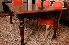 ITALIAN CARVED WALNUT DINING TABLE WITH FAUX MARBLE TOP