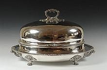 19THC SILVER MEAT TRAY, EGYPT CAMPAIGN REGIMENTAL CREST