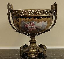 LARGE 19TH C. BRONZE MOUNTED SEVRES CENTERPIECE SIGNED MARCEL