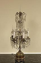 BRONZE AND CRYSTAL LIGHTED GIRANDOLE